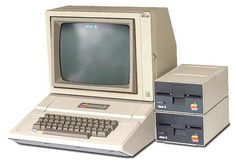 Apple II with floppy disk drives