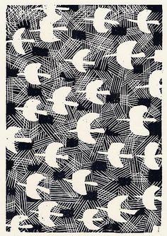 Cool black and white graphic bird pattern Doodle Patterns, Textile Patterns, Textile Prints, Print Patterns, Textiles, Monochrome Pattern, Africa Art, Bird Illustration, Japanese Artists