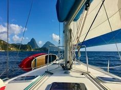 Happy Anniversary to Nemo and us! Yes, we got 'the keys' to her four years ago!  And since then she has been working non-stop from 9-5 sailing across the Caribbean Seas!  Here were are saying up to the Pitons in St Lucia.  Of course, working 9 to 5 sailing in the Caribbean is not quite the same as working in an office 9 to 5, but someone has to do it!  Wishing you a great weekend! Sailing Holidays, Us Sailing, Non Stop, Caribbean Sea, Happy Anniversary, Seas, This Is Us, Building, Places