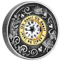 To commemorate the 150th Anniversary of Alice's Adventures in Wonderland, this innovative clock coin has been struck by the Perth Mint from 2oz of 99.9% pure silver and features an antiqued finish, issues as legal tender under the authority of the Government of Tuvalu, no more than 2,500 of the 150th Anniversary of Alice's Adventures in Wonderland 2015 2oz Antiqued Clock Coins will be released by the Perth Mint.