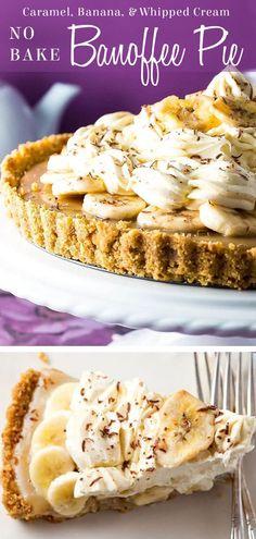 This recipe for No Bake Banoffee Pie makes a dazzling dessert layered with a graham cracker base, caramel, bananas, & whipped cream topping. nobake via Kitchen Tart Recipes, Baking Recipes, Banoffee Pie, Banana Chips, No Bake Pies, Desert Recipes, Graham Crackers, Fun Desserts, Bananas