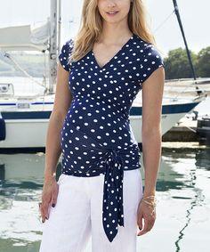 Loving this Navy & White Polka Dot Maternity Wrap Top on #zulily! #zulilyfinds $34.99, regular 64.00
