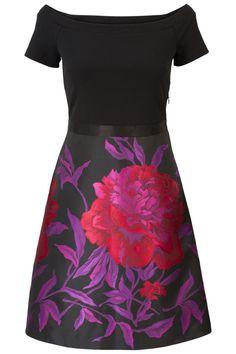 Jacquard geweven jurk Zwart