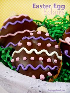 Easter Egg Éclairs. Adorable éclairs shaped like Easter Eggs make a perfect Easter dessert. Link includes a photo tutorial.