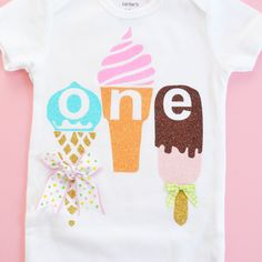 ICE Cream First Birthday outfit, rainbow tutu, ice cream party themed, cake smash, Fluffy tutus / Shoes are not included. SWEET ONE bodysuit - Chelsea Littleton - Beyond Binary First Birthday Themes, First Birthday Outfits, Birthday Tutu, First Birthdays, Baby Ice Cream, Ice Cream Theme, Ice Cream Party, Balloon Decorations Party, Kids Party Games