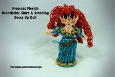 Rainbow Loom Princess Merida Charm/Action Figure - Detachable Skirt Stand Alone Dress Up Doll tutorial by Izzalicious Designs.