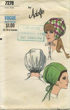 Vintage Hat Sewing Pattern | Vogue 7278 | Year 196? | One Size | Bonnet Hat | by Adolfo