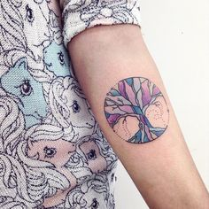 Colorful Tree of Life mandal tattoo