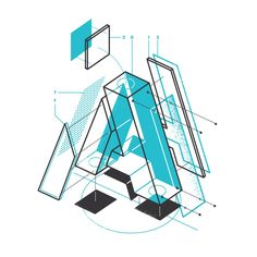 Type Illustrations — the Design Office of Matt Stevens - Direction + Design + Illustration Isometric Art, Isometric Design, Typography Letters, Graphic Design Typography, Japanese Typography, Font Art, Typography Poster, Type Design, Logo Design