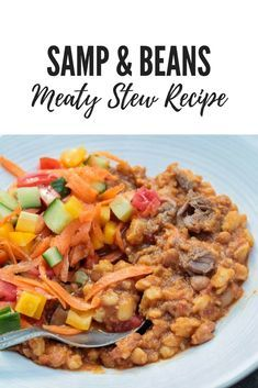 For a rich twist to this traditional South African dish, try my stew version of a classic: a yummy and comforting Samp and beans recipe with meat. South African Dishes, South African Recipes, Bean Recipes, Healthy Recipes, My Favorite Food, Favorite Recipes, Biltong, Bean Stew, Domestic Goddess