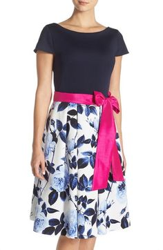 Free shipping and returns on Eliza J Floral Faille Fit & Flare Dress (Regular & Petite) at Nordstrom.com. A hot-pink sash punctuates the waistline of this classically tailored party frock that pairs a fitted scuba-knit bodice with a playfully flared skirt crafted from a springy floral faille.