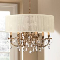The Brentwood chandelier is accented with an antique white fabric shade. Style # at Lamps Plus. Dining Room Lighting, Bedroom Lighting, Home Lighting, French Country Chandelier, Refinishing Hardwood Floors, Luxury Bedroom Design, Classic Lighting, Glass Center, Satin
