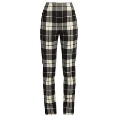 Max Mara Pino trousers found on Polyvore featuring pants, bottoms, calças, jeans, trousers, black cream, plaid pants, cream pants, tartan trousers and slim trousers