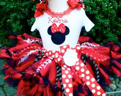 Minnie Mouse RED Birthday Petti Tutu Outfit....BRIGHT Sewn Petti Tutu with Curly Ribbons..