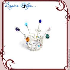 корона Карусель - серебрянный,красный,черный,белый,жемчуг,заколка,заколка для волос