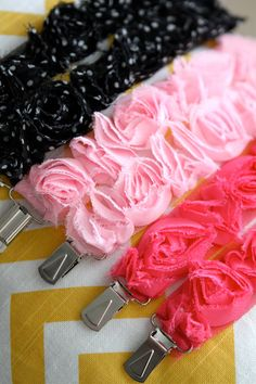 shabby chic ruffle binky clips - these would be a piece of cake!