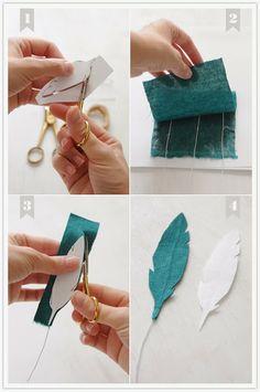 Top 10 Genius Fabric Crafts DIY Ideas DIY fabric feathers – 3 ways Felt Crafts, Fabric Crafts, Diy And Crafts, Scrap Fabric, Felt Fabric, Felt Flowers, Fabric Flowers, Diy Paper, Paper Crafts