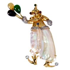 Perle Multi-Gem Or Balloon Clown Broche Pendentif