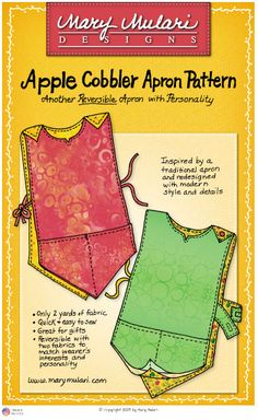 Free Cobbler Apron Sewing Patterns | Order Mary Mulari's Apple Cobbler Apron Pattern: