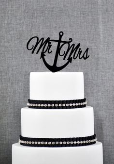 Nautical Mr and Mrs Cake Topper with Anchor – Nautical Wedding Cake Topper Available in 15 Colors and 6 Glitter Options by ChicagoFactory on Etsy (null)