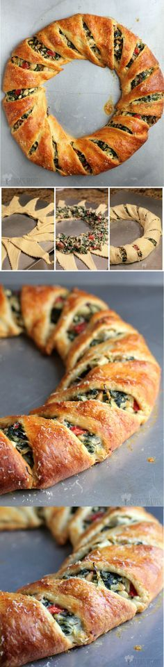 The Mediterranean Crescent Ring. Here is the classic crescent ring, made over using delicious Mediterranean-inspired ingredients. Need something new to bring to that breakfast potluck at work? Greek Recipes, Veggie Recipes, Appetizer Recipes, Cooking Recipes, Appetizer Ideas, Crescent Roll Appetizers, Crescent Roll Recipes, Breakfast Potluck, Brunch