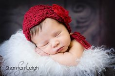 Ruby red Newborn Baby Bonnet