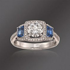 Simon G. .62 ct. t.w. Sapphire and .23 ct. t.w. Diamond Engagement Ring Setting in 18kt White Gold