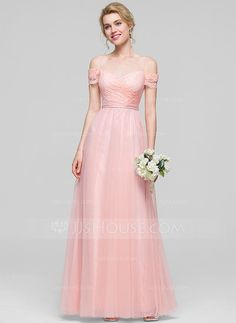 [US$ 119.99] A-Line/Princess Off-the-Shoulder Floor-Length Tulle Bridesmaid Dress With Ruffle