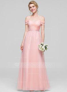 [€ 119.92] A-Linie/Princess-Linie Off-the-Schulter Bodenlang Tüll Brautjungfernkleid mit Rüschen (007090201)