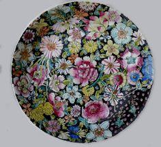 1000 flowers black plate - Google Search