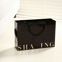 31f8721f8a9 wholesale 1000pcs lot Custom gold logo boutique gift bag High quality 250g  black shopping Bags