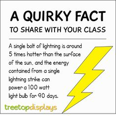A quirky fact about lightning to share with your class - from Treetop Displays. Visit our TpT store for printable resources by clicking on the provided links. Designed by teachers for Pre-Kindergarten to Grade. Fun Facts For Kids, Fun Facts About Animals, Wtf Fun Facts, Funny Facts, Teaching Quotes, Teaching Kids, Kids Learning, Earth And Space Science, Science For Kids