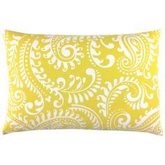 Kissenhülle WALKER zitronengelb gelb weiß Paisley 40 x 60 cm