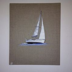 le voilier, série mer ,déco/design peinture à l'huile sur toile en lin : Décorations murales par marion87