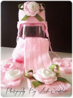 Island Inspirations: Handmade Crochet Baby Hat, Scarf and Gloves Set (Ecru Dilan's Hat, Scarf and Gloves Set)-  No pattern-Dana