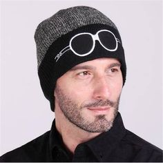 Glasses embroidered beanie hat for men winter color block knit hats