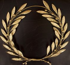 Bronze Olive Wreath Branch Wall Sculpture Art
