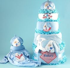 Puppy Love Personalised Diaper Cake Baby Boy Gift $75