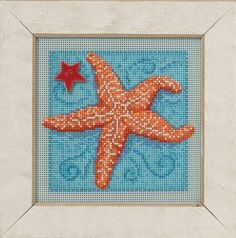 Mill Hill Starfish - Beaded Cross Stitch Kit. Kit Includes: Beads, ceramic button, perforated paper, floss, needles, chart and instructions. Finished size: 5 x