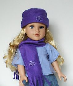 Winter hat and scarf  for 18 inch doll. $9.00, via Etsy.