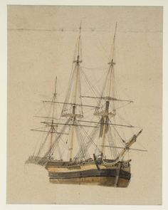Joseph Mallord William Turner 'Study of a Three-Masted Ship, Seen from the Bows', 1796–7 - Chalk, gouache, graphite and watercolour on paper -  Dimensions Support: 521 x 408 mm -  Collection -  Tate