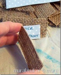 stiffen burlap with modpodge for labels!  Cute.