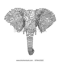 Abstract elephant made of one line