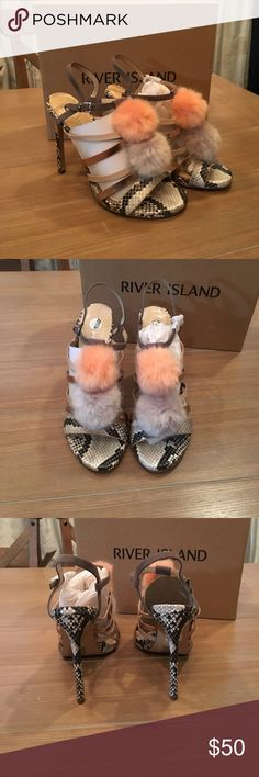 Spotted while shopping on Poshmark: Snake 🐍 Skin River Island Sandals w Poms Sz 8! #poshmark #fashion #shopping #style #ASOS #Shoes