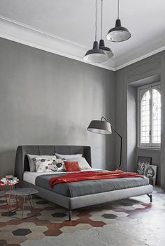Double bed with upholstered headboard BASKET AIR by @bonaldo | design Mauro Lipparini