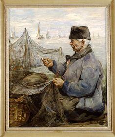 De Nettenboeter Maker:1900-1916 maker: Smith, Hobbe (1862-1942) Een oude Volendammer visser aan het netten boeten, dat wil zeggen het repareren van de netten. Hij is gekleed in Volendammer dracht - blauw jak, zwarte broek en zwarte bontmuts. Een gedeelte van het net ligt in een rieten mand. Op de achtergrond de Gouwzee en verschillende vissersschepen als botters. In de verte ligt het eilandje Marken in de badende zon. #NoordHolland #Volendam