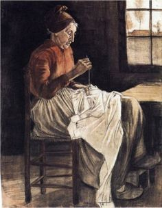 Woman Sewing  - Vincent van Gogh,  1881. Realism, charcoal, watercolor, paper