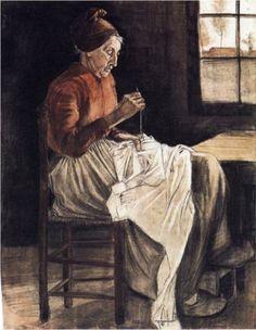 Woman Sewing  - Vincent van Gogh, 1881. Realism,  charcoal, watercolor, paper