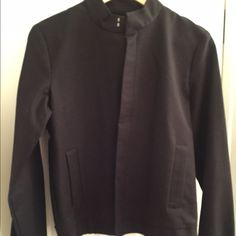Context Black Military-style Jacket- NEW! Super-sharp black cotton/spandex zip-front jacket from Context (Lord & Taylor). Diagonal pockets; elastic at cuffs and waist. Unlined. Unworn with tags. Sorry no trades or PayPal. Thanks for shopping by! Context Jackets & Coats Blazers