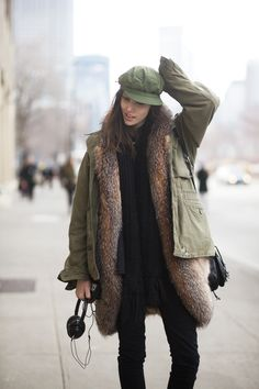 For winter: layer a longer sweater (or fur if you happen to have an incredibly long fur coat) underneath a lighter jacket